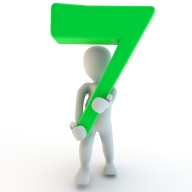 3D Human Character Holding Green Number Seven