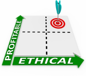 A matrix showing choices for ethical and profitable decisions, w